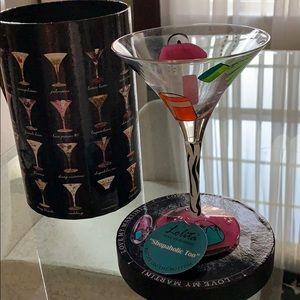 "Hallmark ""Shopaholic"" martini glass NIB"